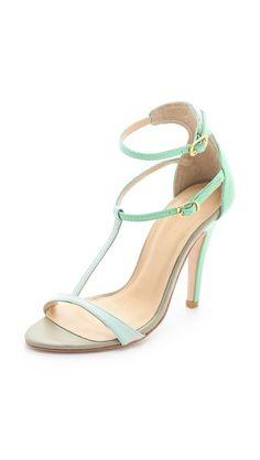 Plomo Liliana Tonal Colorblock Sandals #mint