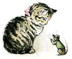 The Story of Miss Moppet. Loved this and all Beatrix Potter as a kid and just named my new kitty Miss Moppet Beatrix Potter Illustrations, Cat Illustrations, Beatrice Potter, Peter Rabbit And Friends, Cat Mouse, Children's Book Illustration, Artist Art, Cool Cats, Cat Art