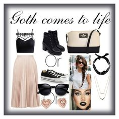 """""""Goth comes to life!!🔐💄👊🏽😈"""" by thestylemaker on Polyvore featuring Topshop, Zara, Converse, Kate Spade, New Look and Michael Kors"""