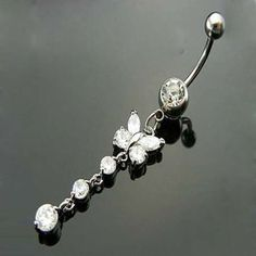 Wholesale Body Jewelry Dangle Gems Butterfly Navel Ring