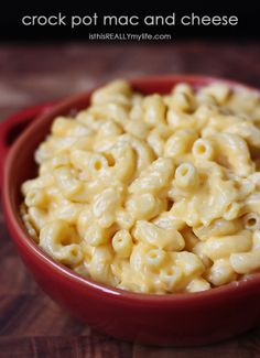 Crock pot mac and cheese -- rich and creamy and oh so good! A family favorite for sure! isthisREALLYmylife.com