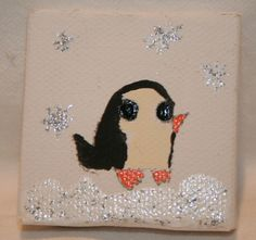 Little Penguin Enjoys A Silvery Snow Fall 2x2 by kitncatherine, $3.00