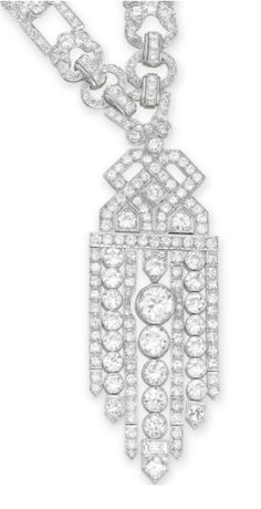 AN ART DECO DIAMOND CONVERTIBLE SAUTOIR  Suspending a detachable old European and circular-cut diamond openwork tassel pendant of geometric motif, to the old European and circular-cut diamond open link neckchain, mounted in platinum, circa 1920, pendant may be worn as a brooch (with a platinum brooch fitting of later manufacture), neckchain may be worn as two bracelets or as a necklace of three different lengths, with French assay marks, in a brown leather fitted case