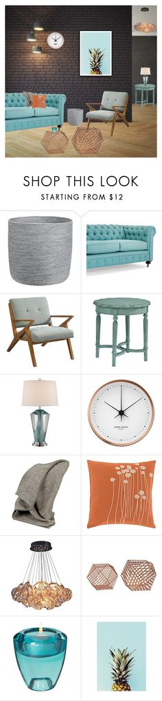 """""""Aqua Accents"""" by cherieaustin on Polyvore featuring interior, interiors, interior design, home, home decor, interior decorating, Pottery Barn, Magnolia Home, Georg Jensen and Scapa Home"""