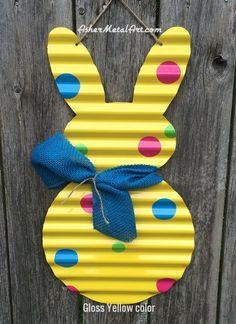 "Galvanized, corrugated metal (tin) Bunny Rabbit 21""Tall / EASTER / SPRING, DIY door hanger, wall hanging, wreath"