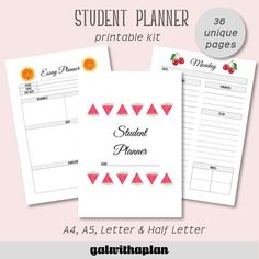 Student Planner, Printable Planner, College Planner, Student Survival Kit, Back to School Essay Planner, Academic Planner, Goals Planner, Student Planner Printable, Planner Template, Date, Student Survival Kits, Cornell Notes Template, Grade Tracker