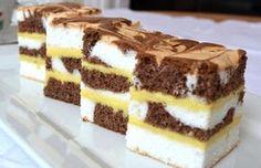 Odličan kolač koji na oko izgleda zaista fantastično! Cake Bars, Czech Recipes, Ethnic Recipes, Baking Recipes, Cookie Recipes, Chocolate Dome, Kolaci I Torte, Croatian Recipes, Cupcake Cakes