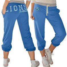 Detroit Lions Ladies Cutoff Block Pants - Light Blue