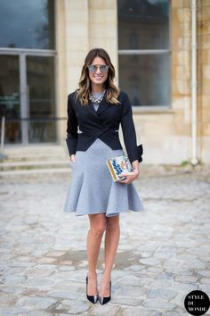 box clutch with classic outfit