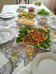 Beautiful food and table created with love for a family feast!!..Brazilian food