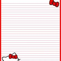 Free Printable Hello Kitty Ribbons stationary paper