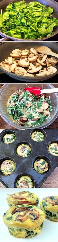 Espinacas, setas, huevos, nata líquida, sal y pimienta. Hornear a 170ª unos 20-25 minutos.