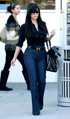 Kim Kardashian: High waist pants, she looks so cute. that hermes belt.. perfect