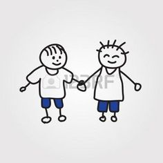omini stilizzati che si abbracciano: bambini disegnati a mano Vettoriali