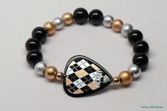 Black Gold Silver Argyle Guitar Pick Bracelet by RockSteadyCouture