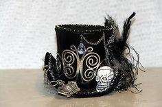 BLACK SILVER MINI TOP HAT STEAMPUNK GOTHIC BURLESQUE VINTAGE LACE SKULL HEAD | eBay