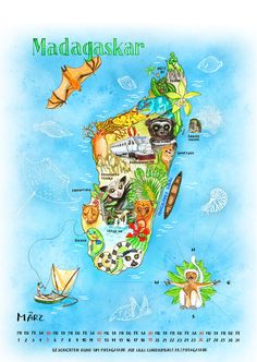 Calendar page: Illustrated map of Madgascar ©  by Claudia Ottilie