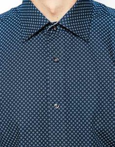 ASOS Navy Ted Baker Shirt With Geometric Print £65 (413462)