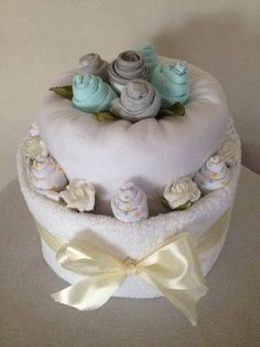 Deluxe two tier nappy cake by HolliesNappyCakes on Etsy Nappy Cakes, Foam Roses, Bath Towels, How To Make, Etsy