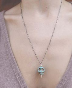 Turquoise howlite skull pendant on an oxidized silver chain - Pamela Love