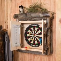 Rustic Aspen Log Dartboard Cabinet Has Built In Storage For Steel Tipped  Darts. #mancave