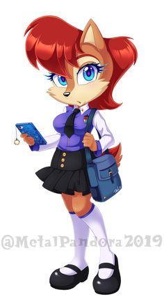 Schoolgirl Sal by MetalPandora on DeviantArt Archie Comics Characters, Female Cartoon Characters, Sonic Fan Characters, Sonic Satam, Sonic And Amy, Amy Rose, Game Character, Character Design, Sally Acorn