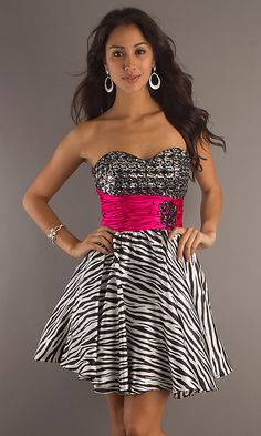 Strapless Zebra Print Party Dress With Sequins