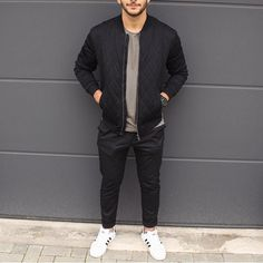 Black #bomberjacket , gray t shirt and @adidas #sneakers ✨ by @styleaway [ www.RoyalFashionist.com ]