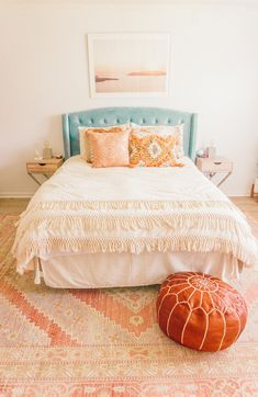 Peach Bohemian Master Bedroom Makeover in 2020 (With images) Peach Bedroom, Blue Bedroom Decor, Peach Rooms, Cute Bedroom Ideas, Room Ideas Bedroom, Bedroom Inspo, Trendy Bedroom, Master Bedroom Makeover, Master Bedrooms