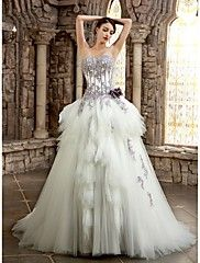 A-line+Wedding+Dress+Wedding+Dress+in+Color+Chapel+Train+Strapless+Sweetheart+Satin+with+Appliques+Beading+Flower+–+USD+$+700.00