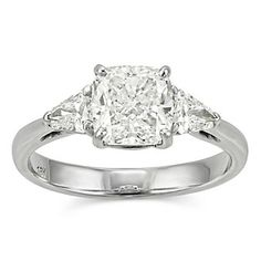18K White Gold Cushion and Shield Diamond Engagement Ring from Borsheims