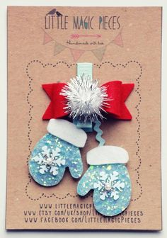 Glittery Mittens Hair Clip - Christmas Collection