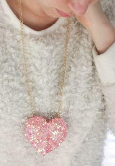 DIY Disco Heart Necklace
