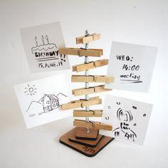 Diy Home Crafts, Craft Stick Crafts, Creative Crafts, Paper Crafts, Popsicle Crafts, Postcard Holder, Recipe Holder, Note Holders, Diy Photo