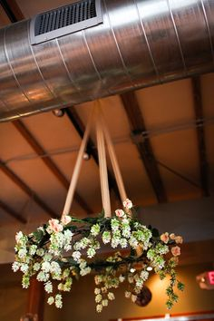 love this idea. pretty easy to do too if we can get to the ceiling. maybe lights instead of flowers