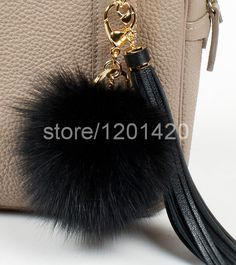 fur ball keychains black fox fur pompom keychain tassel keyring fluffy bag charm genuine furry handbag charm plush purse charm