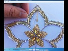 Hand Embroidery Beads Work , Flower Embroidery With Long Beads – hand embroidery Bead Embroidery Tutorial, Bead Embroidery Patterns, Bead Embroidery Jewelry, Hand Embroidery Stitches, Hand Embroidery Designs, Embroidery Techniques, Ribbon Embroidery, Art Patterns, Bordados Tambour