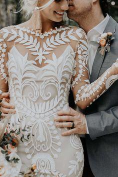 Celbi + Gabe's wedding in Tulum is a tropical daydream. Gold Wedding Gowns, Boho Wedding Dress, Bridal Gowns, Wedding Dresses, Ceremony Dresses, Boho Bride, Wedding Ring, Wedding Ceremony, How To Dress For A Wedding