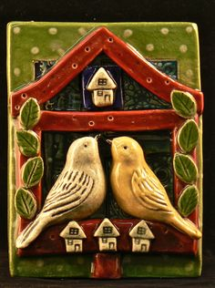 Ceramic Tile Birdhouse by tilebyfire on Etsy