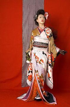Japanese style wedding ceremony clothes. Kimono.