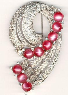 Coro Pave and Pink Moonstones Giant Deco Swirl Pin