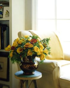 Recycled Arrangements - mix holiday greenery like evergreens with fresh flowers to keep holiday/winter feeling.