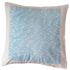 Blue Dashes Pillow Cover 12 by 12 - Sustainable Threads (L) Hand screen printed and hand-woven on bamboo looms, these pure cotton pillows are 12 inches square. Does NOT include pillow. Small Pillows, Decorative Pillows, Throw Pillow Sets, Pillow Covers, Machine Wash Pillows, Shops, Cerulean, Cotton Pillow, Of Wallpaper