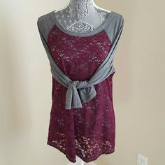 Mixed media Top This feminine baseball tee features a burgundy lace bodice with heather gray sleeves. This top does provide stretch. Pre-loved and in excellent condition. The top did not come with material and washing instruction tag. Maurices Tops Tees - Long Sleeve
