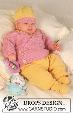 DROPS vest, kruippak of jurk, muts en sokken van BabyMerino. ~ DROPS Design