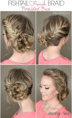 Fishtail french braid and braided bun. fishtail french braid and braided bun bridesmaid braided hairstyles Pretty Hairstyles, Braided Hairstyles, Updo Hairstyle, Hairstyles 2016, Hairdos, Medium Hairstyles, Hairstyle Ideas, Girl Hairstyles, French Hairstyles
