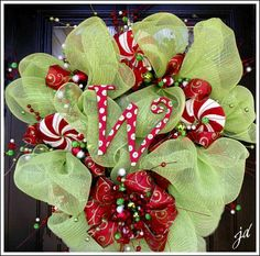 Christmas Mesh Wreath!, For more detailed instructions, and other Christmas decorating ideas visit http://www.decorating-ideas-made-easy.com/how-to-make-a-wreath.html, I found the peppermints at Trees & Trends.  , Holidays Design