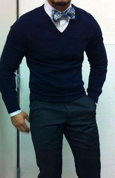 Men's Navy V-neck Sweater, White Dress Shirt, Navy Dress Pants, Blue Plaid Bow-tie