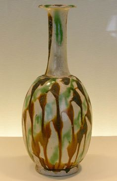 Bottle with abstract design, Tang Dynasty: 7th - 8th century. Polychrome ware, earthenware. At the Boston Museum of Fine Arts: Chinese Pottery