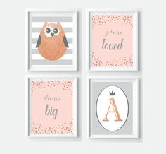 Personalized Rose Gold Peach and Grey Nursery Decor - Owl Confetti Letter Print Bundle  - instant download by VigiCreativeStudio on Etsy